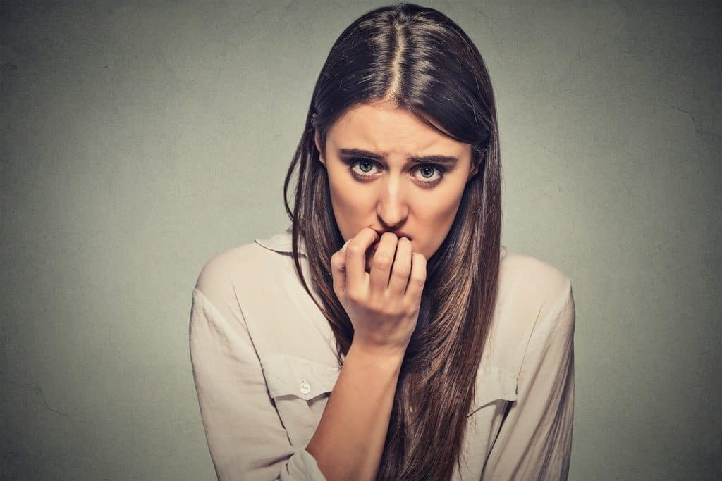 afraid and anxious woman